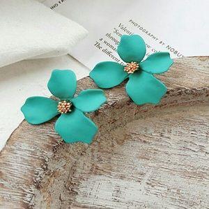 Jewelry - Petal Stud Statement Earrings in Teal